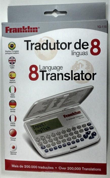 Tradutor Eletrônico Franklin TG115 8 Idiomas Português, Inglês, Espanhol, Italiano, Alemão, Francês, Chinês, Japones, Calculadora, Conversor de moedas e métrico