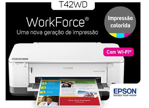 Impressora Jato de Tinta Epson Workforce T42WD Wireless 4 Cores - Disponibilidade: 14 dias + frete