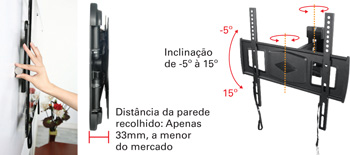 Suporte articulado MI-802 com inclinação para TV LCD/Plasma/LED de 26 a 42´´ - Multivisão