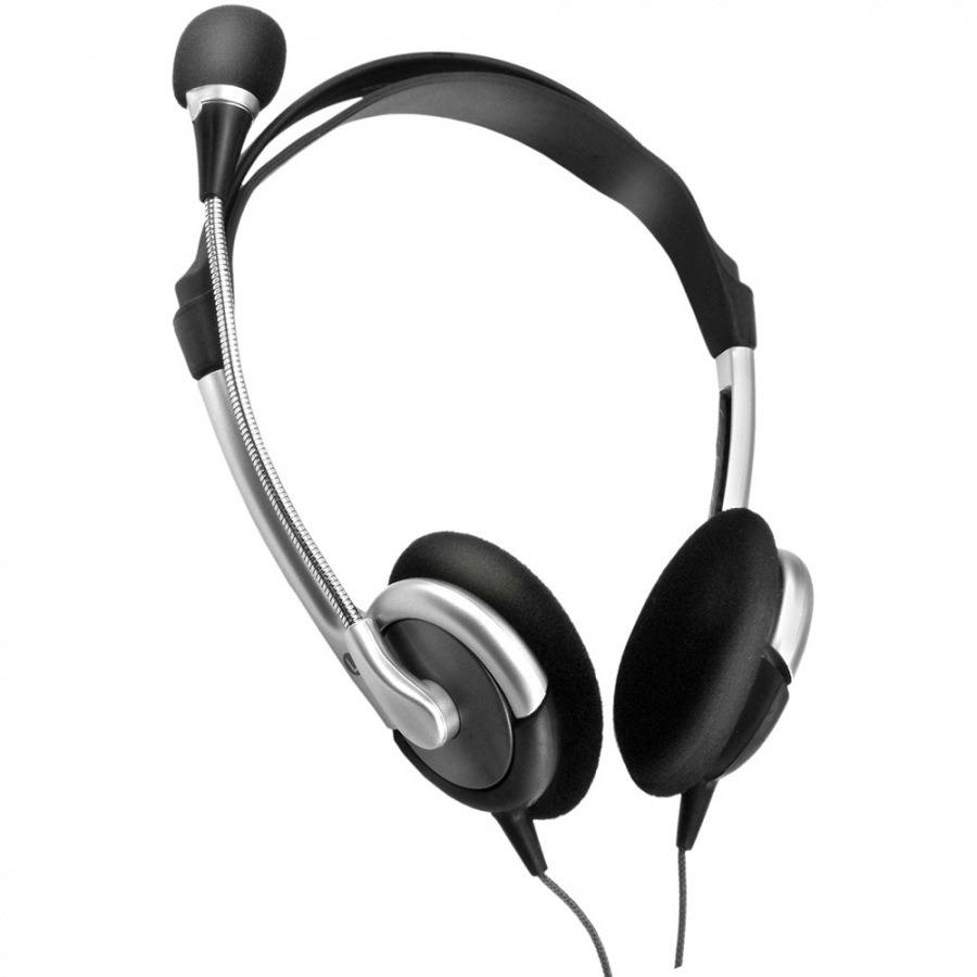 Fone de ouvido Multilassr PH030 Stereo headset haste flexível com microfone cor prata e preto