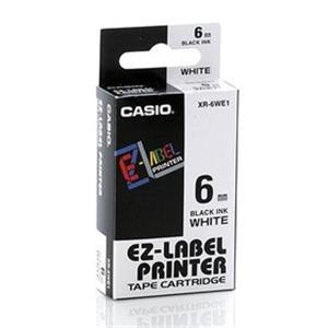 Fita Rotuladora Casio XR-6WE1 6mm preto no branco para etiquetadora KL