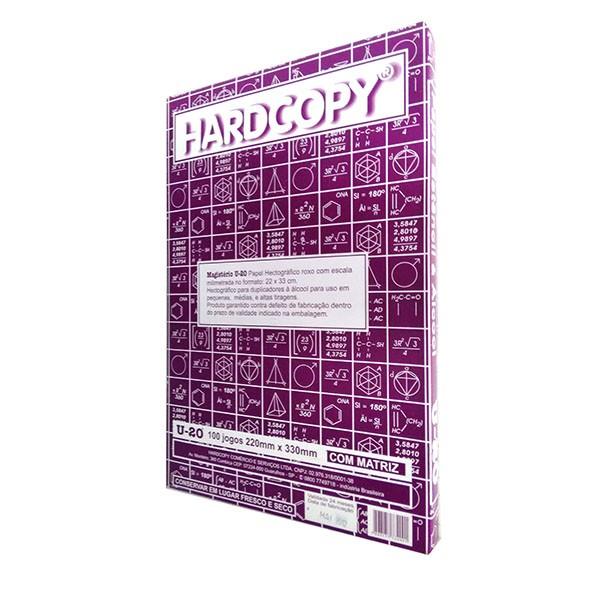 Papel Hectográfico Estêncil com Matriz Hardcopy Magistério U20, Caixa com 100 jogos, medidas de 22x33cm