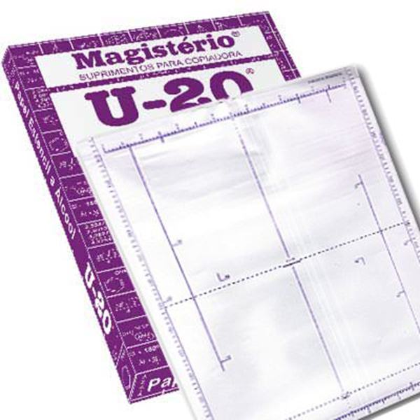 Papel Hectográfico Estêncil Roxo com Matriz Hardcopy Magistério U20, Caixa com 100 jogos, medidas de 22x33cm