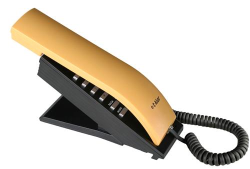 Telefone com Fio T-Klar TK-BEO Preto e Amarelo, Designer moderno e diferenciado, teclado alfanumérico, ajuste de volume da campainha, redial.