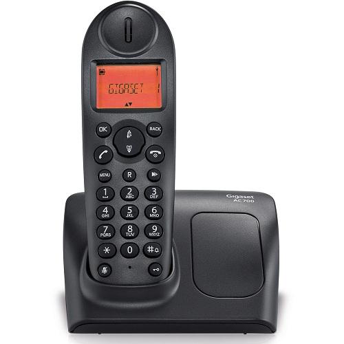 Telefone sem fio Gigaset AC700 Dect 6.0 com Identificador de Chamadas, visor iluminado Preto