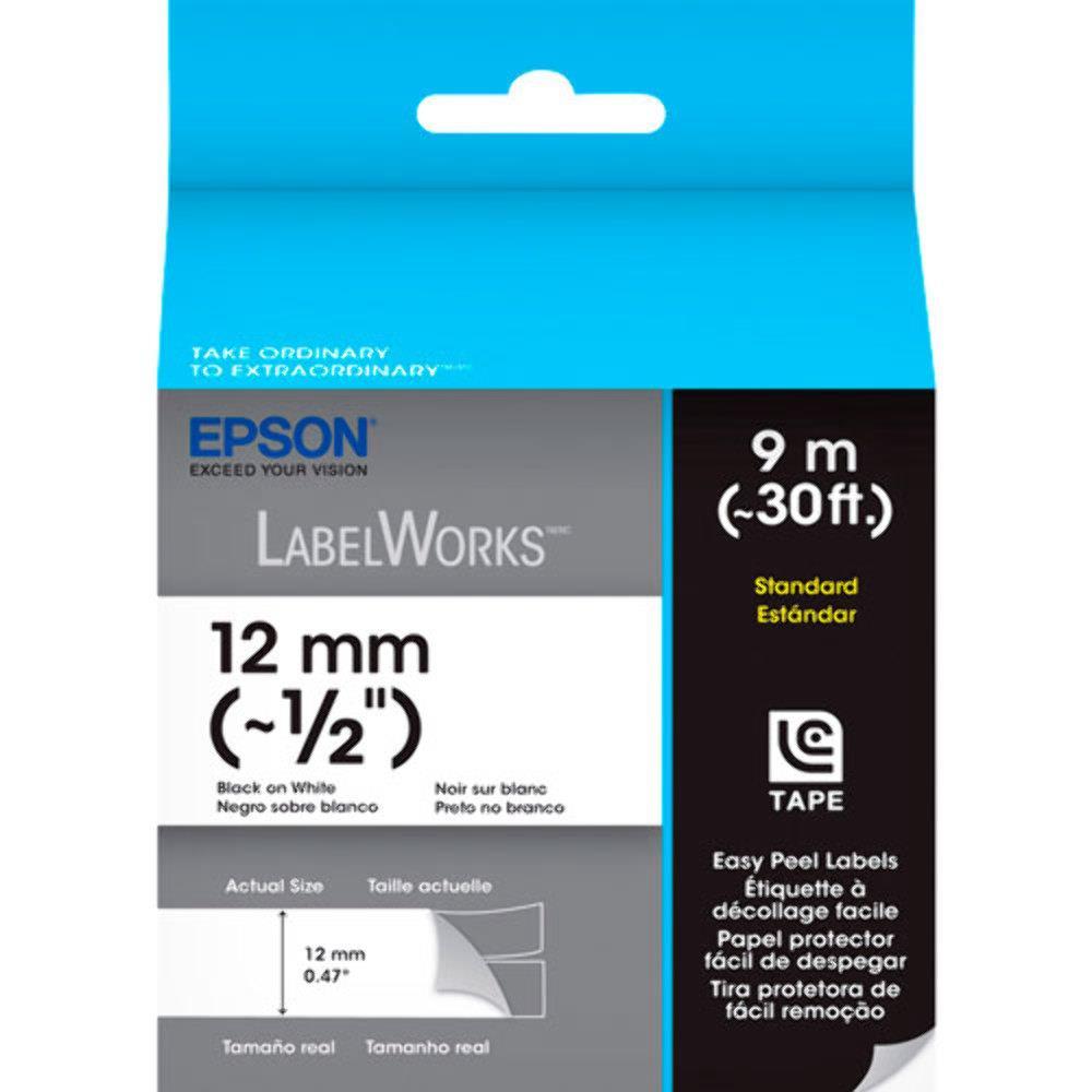 Cartucho de Fita LC-4TBN9 ou LK-4TBN p/ Rotuladora Eletronica Epson LW300 e LW400 12mm Preto no Transparente