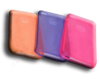KIT C/ 3 CAPAS DE TPU P/ IPHONE 4. BLISTER C/ 3 CORES: ROXO, PINK E LARANJA