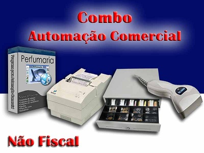 Combo para Automa��o Comercial N�o Fiscal: Programa para Perfumaria + Leitor de C�digo de Barras + Impressora Matricial + Gaveteiro