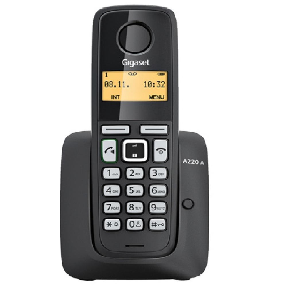 Telefone sem Fio Gigaset A220 DECT 6.0 Display 1,4 , Identificador de Chamadas, secretária eletrônica, viva voz Preto