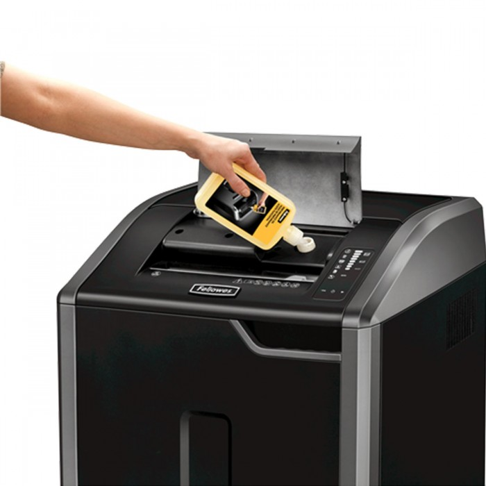 Fragmentadora Fellowes 425Ci (110V) - corta grampos, cart�es de cr�dito, cds, dvds, at� 28 folhas,  corte cruzado de 3,9x30mm, fenda 310mm, cesto 121lts, ru�do 68 dB