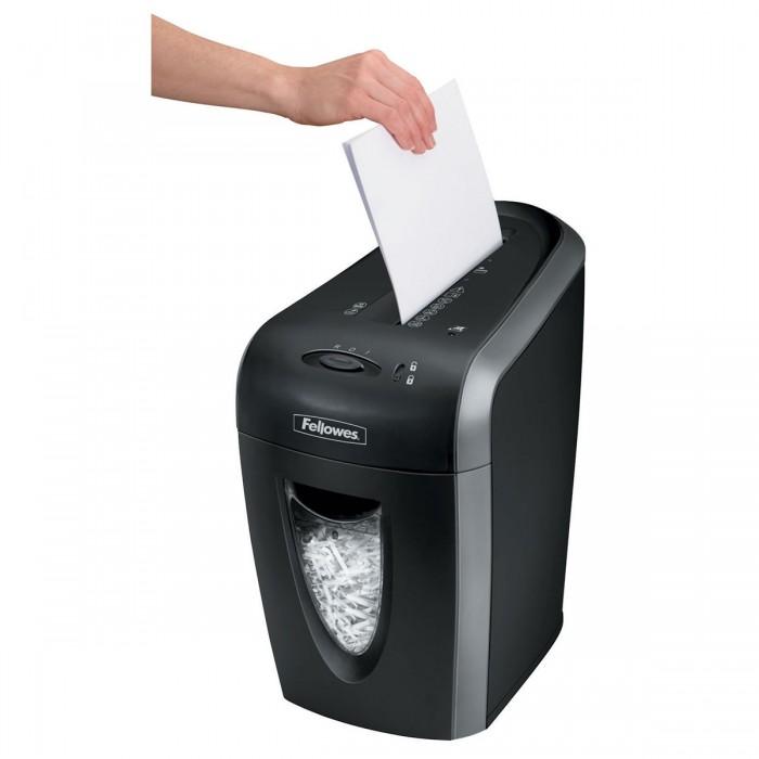 Fragmentadora de papel Fellowes 59Cb 127V - corta grampos, cart�es de cr�dito, clipes de papel, at� 9 folhas, corte cruzado tamanho 4x50mm, fenda 230mm, cesto 15lts, ru�do 68dB