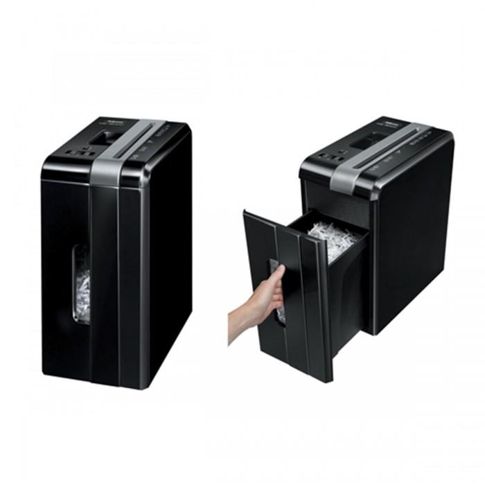 Fragmentadora Fellowes DS1200CS 110V corta grampos, cartões de crédito, clipes de papel, até 12 folhas, corte cruzado 4x50mm, fenda 225mm, cesto aramado 15lts, ruído 70dB