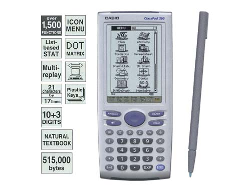 Calculadora gráfica e financeira Casio ClassPad330-C-DH Touch Screen