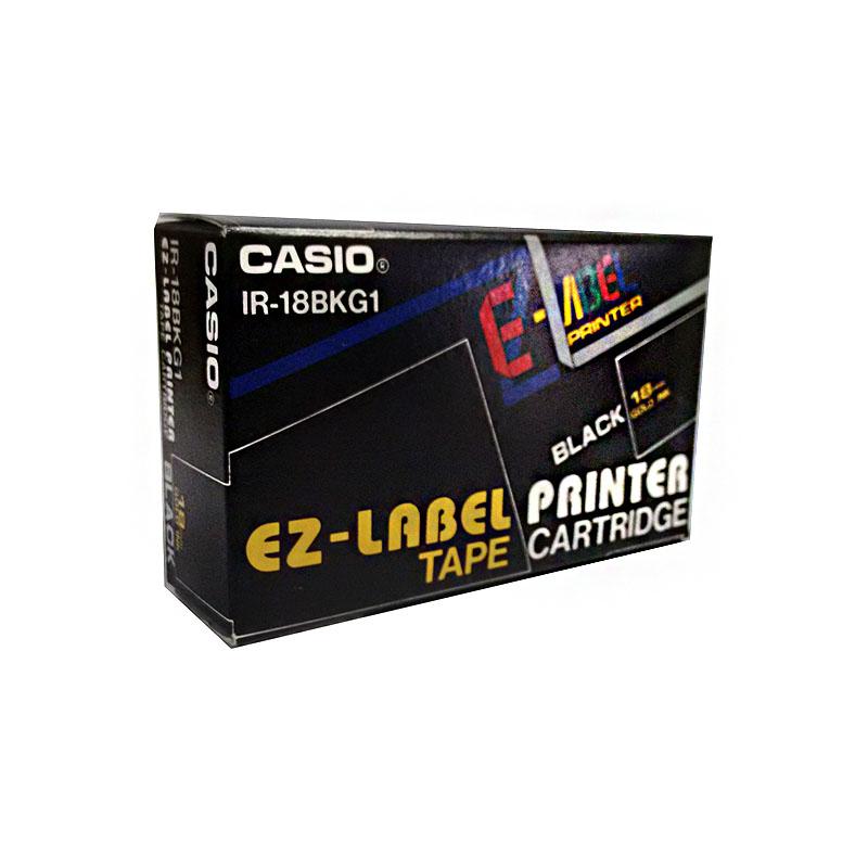 Fita Rotuladora Casio IR-18BKG1 18mm dourado no preto para etiquetadora KL