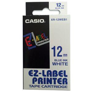 Fita Rotuladora Casio XR-12WEB1 12mm azul no branco para etiquetadora KL