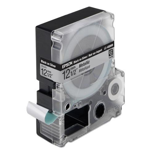 Cartucho de Fita LC-4SBM9 p/ Rotuladora Eletrônica Epson LW300 e LW400 - 12mm / Preto no Prata