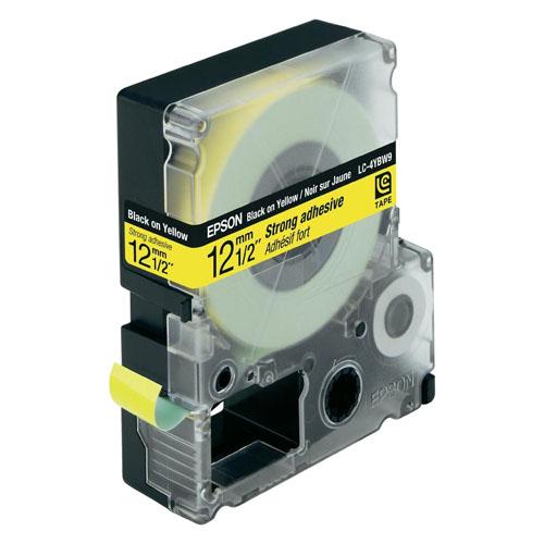 (FORA DE LINHA) Cartucho de Fita LC-4YBW9 p/ Rotuladora Eletrônica Epson LW300 e LW400 - 12mm / Preto no Amarelo