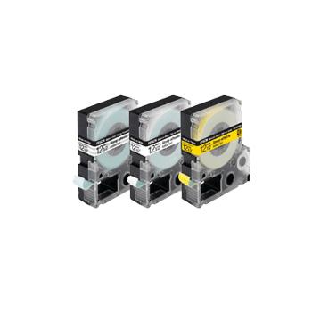 Cartucho de Fita LC-5YBW9 p/ Rotuladora Eletrônica Epson - 18mm LW400 Preto no Amarelo