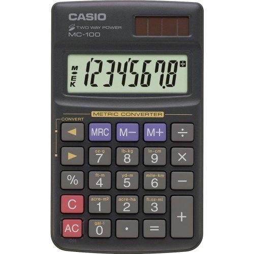 Calculadora Casio MC-100 - conversor m�trico, 8 d�gitos