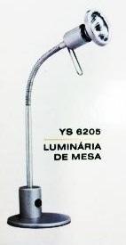 Luminária de mesa Yellowstar YS-6205 - Prata, braço c/ regulagem direção, lâmpada de 50W inclusa 240V