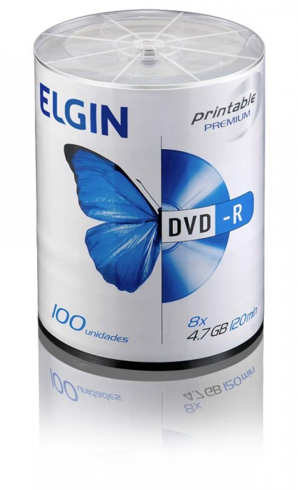Mídia DVD-R Elgin Printable Premium 4.7 GB/120 min/8 X (Tubo com 100 unidades)