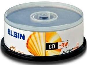 Mídia CD-RW Elgin 700MB/80 min/12 X (Pino com 25)