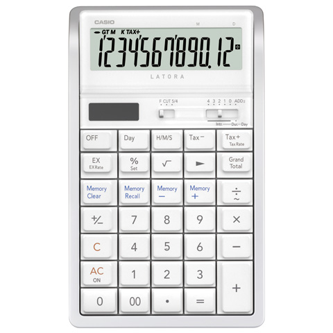 Calculadora de mesa Casio RT-7000-WE - 12 dígitos, Cálculo de hora, Branca