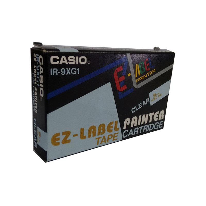 Fita Rotuladora Casio XR-9XG1 IR-9XG1 9mm dourado no transparente para etiquetadora KL