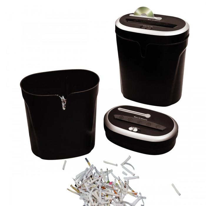 Fragmentadora de Papel OFB Destroy Paper DWS-1001CD corta 10 folhas em partículas de 4x32mm CD/CC, cesto 26 litros para CD e Papel separadoss de 4x32mm CD/CC, cesto 26L para CD e Papel separados, 110V