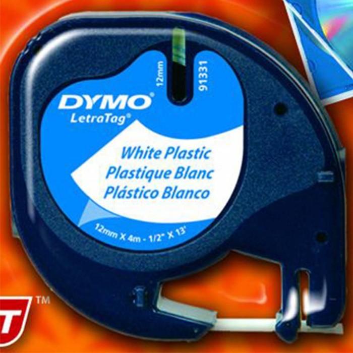 Fita Poliéster Dymo auto-adesiva p/ Rotulador Eletrônico LetraTag (12mm x 4 mts) - preto/ branco - cód. 91331