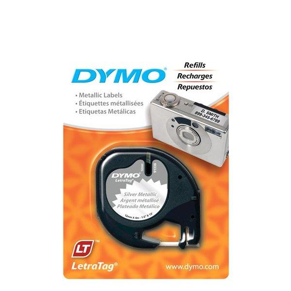 Fita Poliéster Dymo auto-adesiva p/ Rotulador Eletrônico LetraTag (12mm x 4 mts) - preto/ prata - cód. 91338