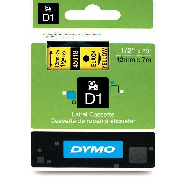 Fita Poliéster Dymo auto-adesiva p/ Rotulador Eletrônico Profissional (12mm x 7 mts) - preto/ amarelo - cód. 45018