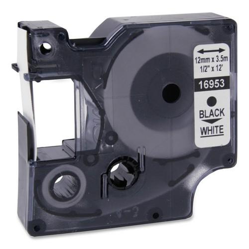 Fita Nylon Dymo auto-adesiva p/ Rotulador Eletrônico Profissional (12mm x 3,5 mts) - preto/ branco - cód. 16953