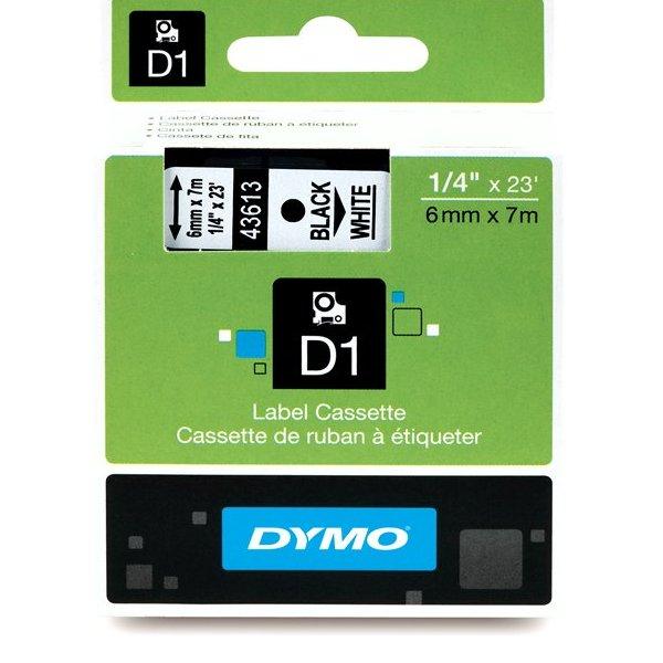 Fita Poliéster Dymo auto-adesiva p/ Rotulador Eletrônico Profissional (6mm x 7 mts) - preto/ branco - cód. 43613