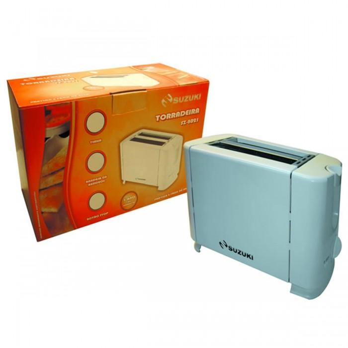 Torradeira Suzuki SZ-8021 - Timer c/ 5 níveis, bandeja de resíduos, botão stop, design compacto, abertura mais larga, 220V