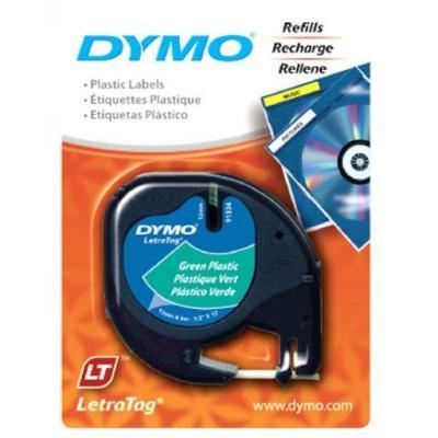 Fita Poliéster Dymo auto-adesiva p/ Rotulador Eletrônico LetraTag (12mm x 4 mts) - Preto/Verde - Cód. 91334