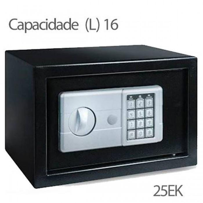 Cofre Safewell Eletronic Safe 25EK - Medidas Externas (AxCxP): 250x350x250mm, Capacidade: 16L, Senha: 3 a 8 dígitos