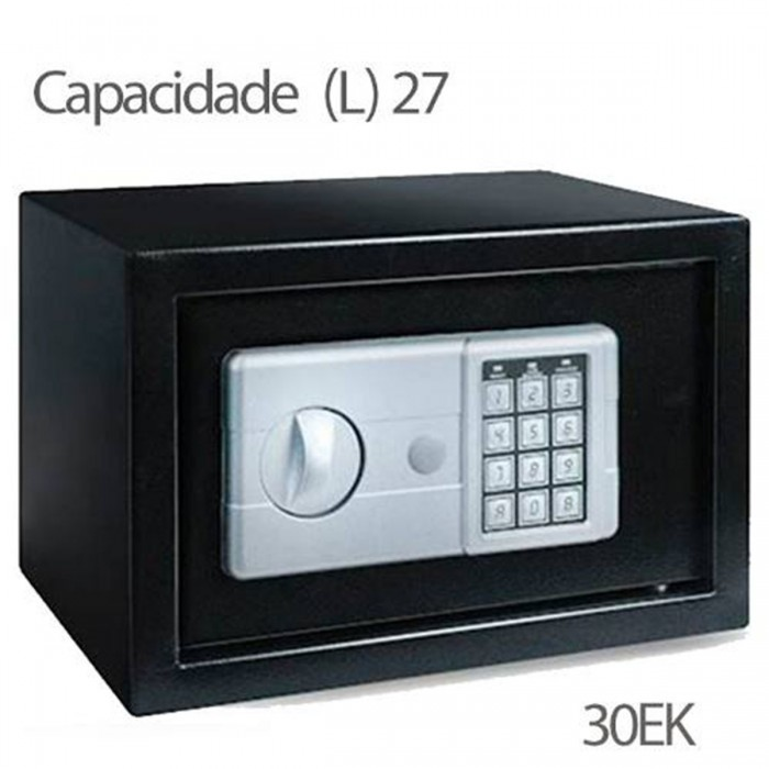 Cofre Safewell Eletronic Safe 30EK - Medidas Externas (AxCxP): 300x380x300mm, Capacidade: 27L, Senha: 3 a 8 dígitos
