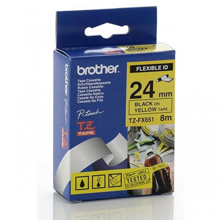 Fita Flexível Brother TZFX-651 - Largura: 24mm, Preto sobre Amarelo, Comprimento: 8m