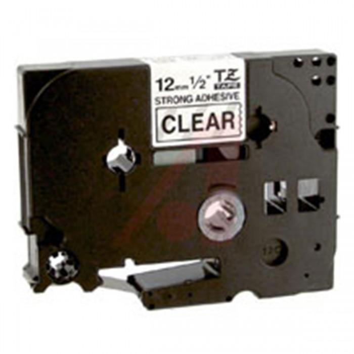 Fita p/ Rotulador Brother TZS-131 - Largura: 12mm, Preto sobre Transparente, Comprimento: 8m