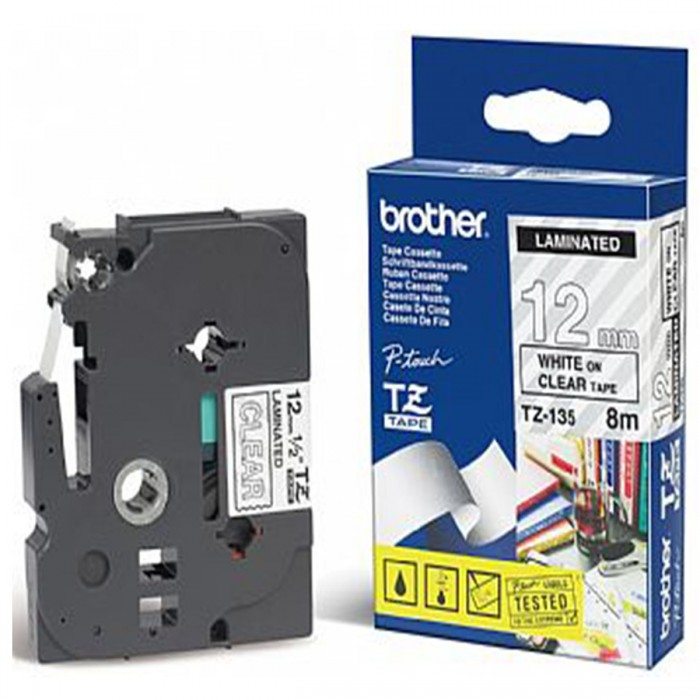 Fita p/ Rotulador Brother TZS-135 - Largura: 12mm, Branco sobre Transparente, Comprimento: 8m