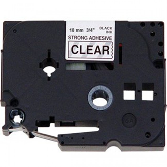 Fita p/ Rotuladora Brother TZS-141 - Largura: 18mm, Preto sobre Transparente, Comprimento: 8m