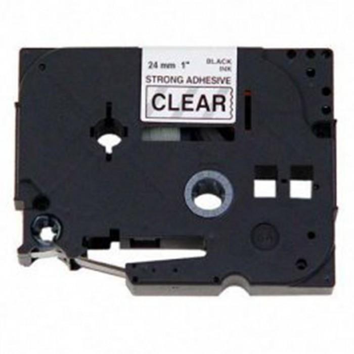 Fita p/ Rotuladora Brother TZS-151 - Largura: 24mm, Preto sobre Transparente, Comprimento: 8m