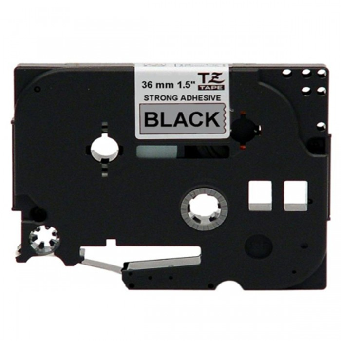 Fita p/ Rotuladora Brother TZS-961 - Largura: 36mm, Preto sobre Prata Fosco, Comprimento: 8m