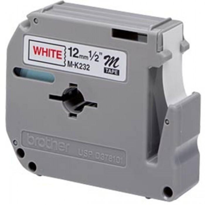 Fita p/ Rotulador PT Brother MK-232 - Largura: 12mm, Vermelho/Branco, Comprimento: 8m