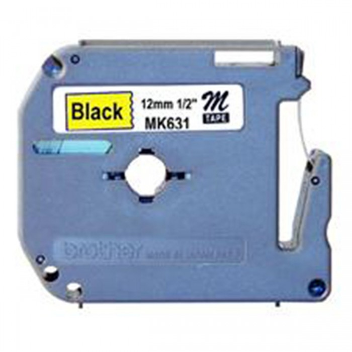 Fita p Rotulador PT Brother MK - 631 - Largura: 12mm, PretoAmarelo, Comprimento: 8m
