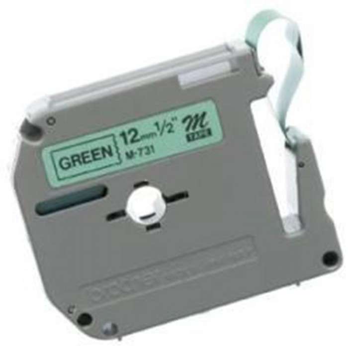 Fita p/ Rotulador PT Brother M-731 - Largura: 12mm, Preto/Verde, Comprimento: 8m
