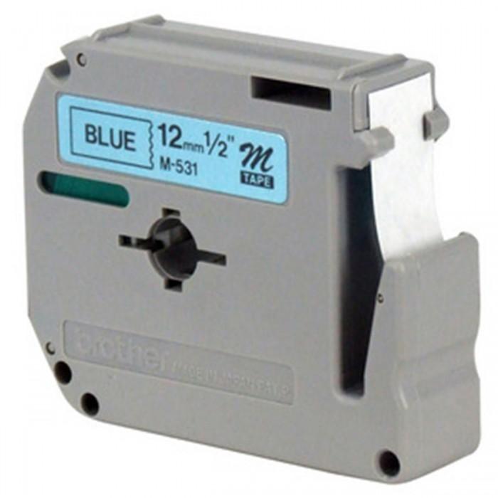 Fita p/ Rotulador PT Brother M-531 - Largura: 12mm, Preto/Azul, Comprimento: 8m