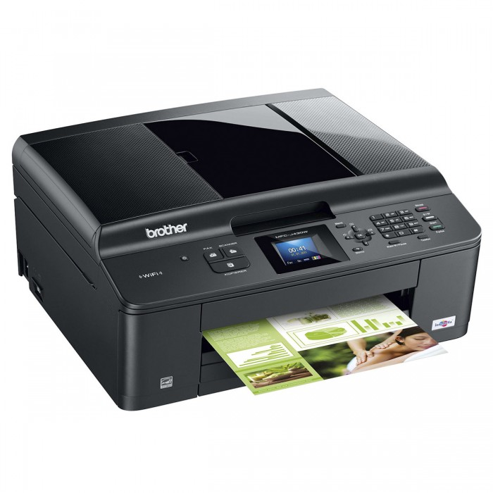 Multifuncional Jato de Tinta Brother MFC-J430W -  Alimentador Automático de Documentos, Rede Wireless, Imprime até 2500 páginas/mês