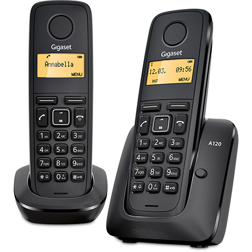 Telefone sem fio Gigaset A120 Duo com Ident. de Chamadas Preto